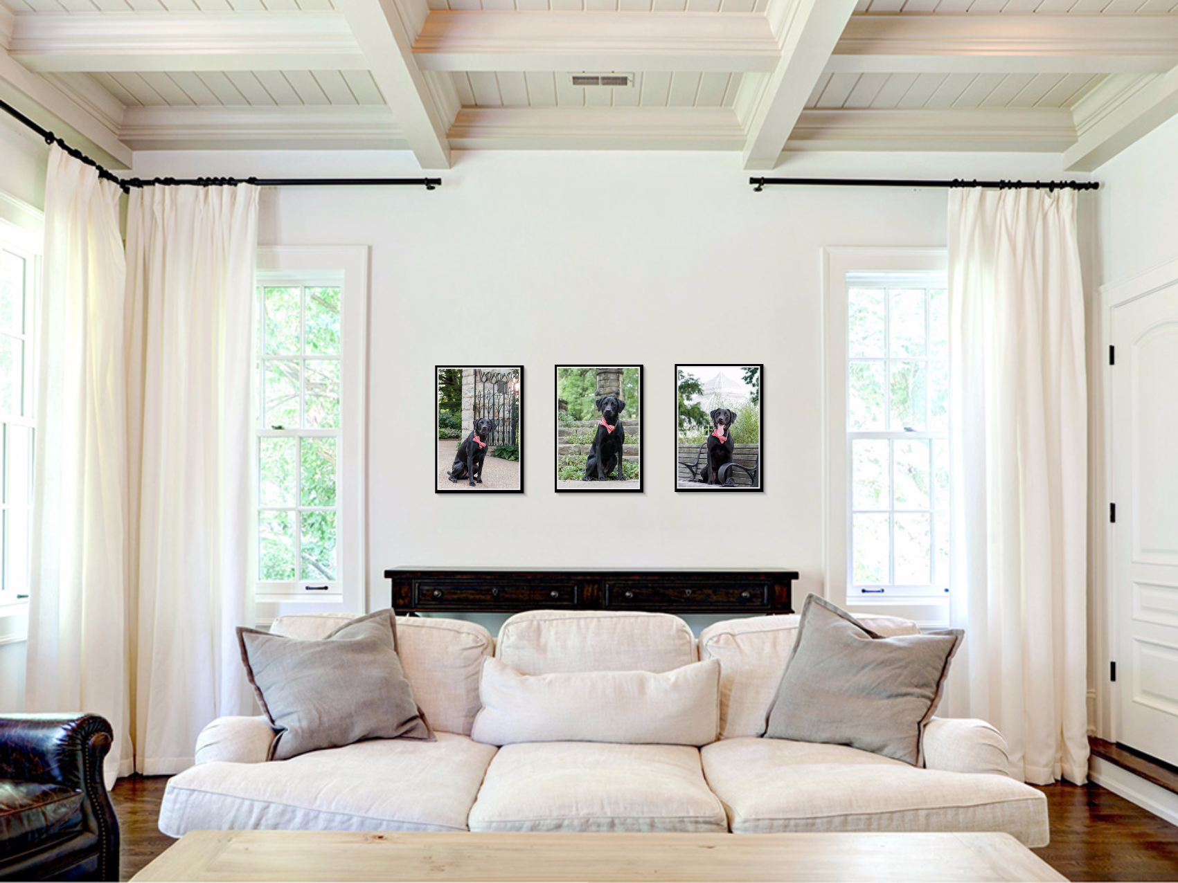 wall art framed prints trio above couch in living room