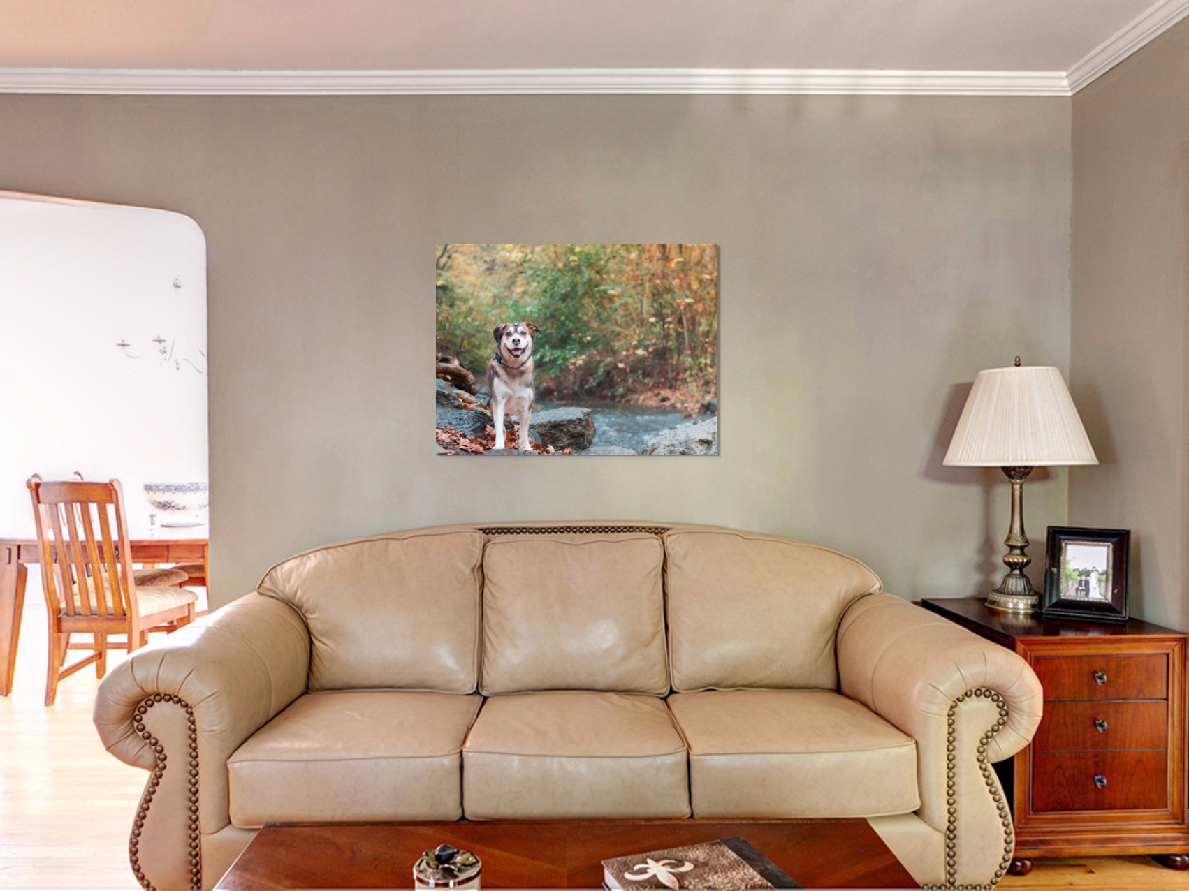 30x40 gallery-wrapped canvas in living room