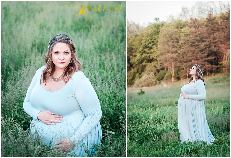 maternity session with beautiful mother in a field at Hillman State Park in Burgettstown