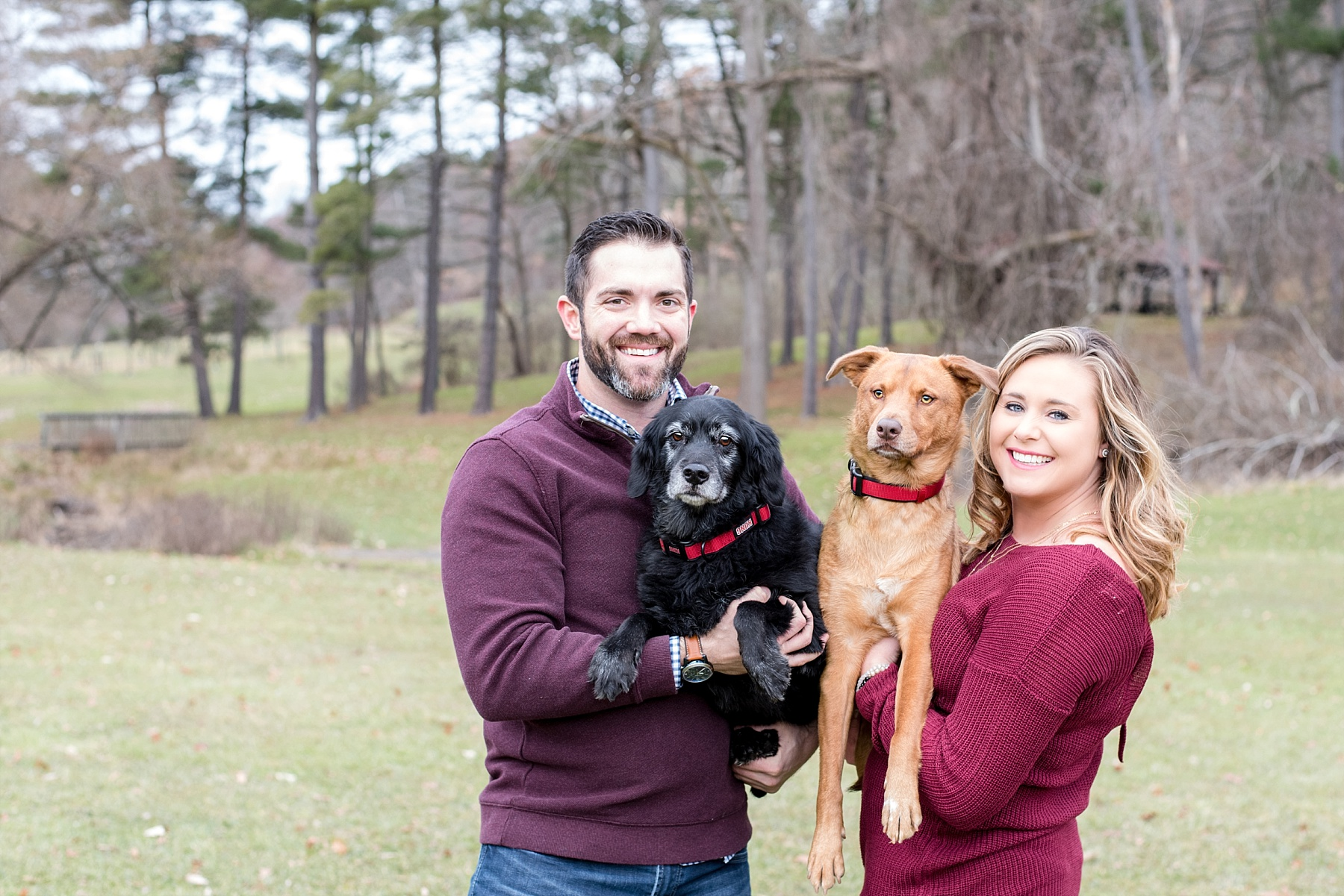 couple with two dogs at North Park in Gisbsonia