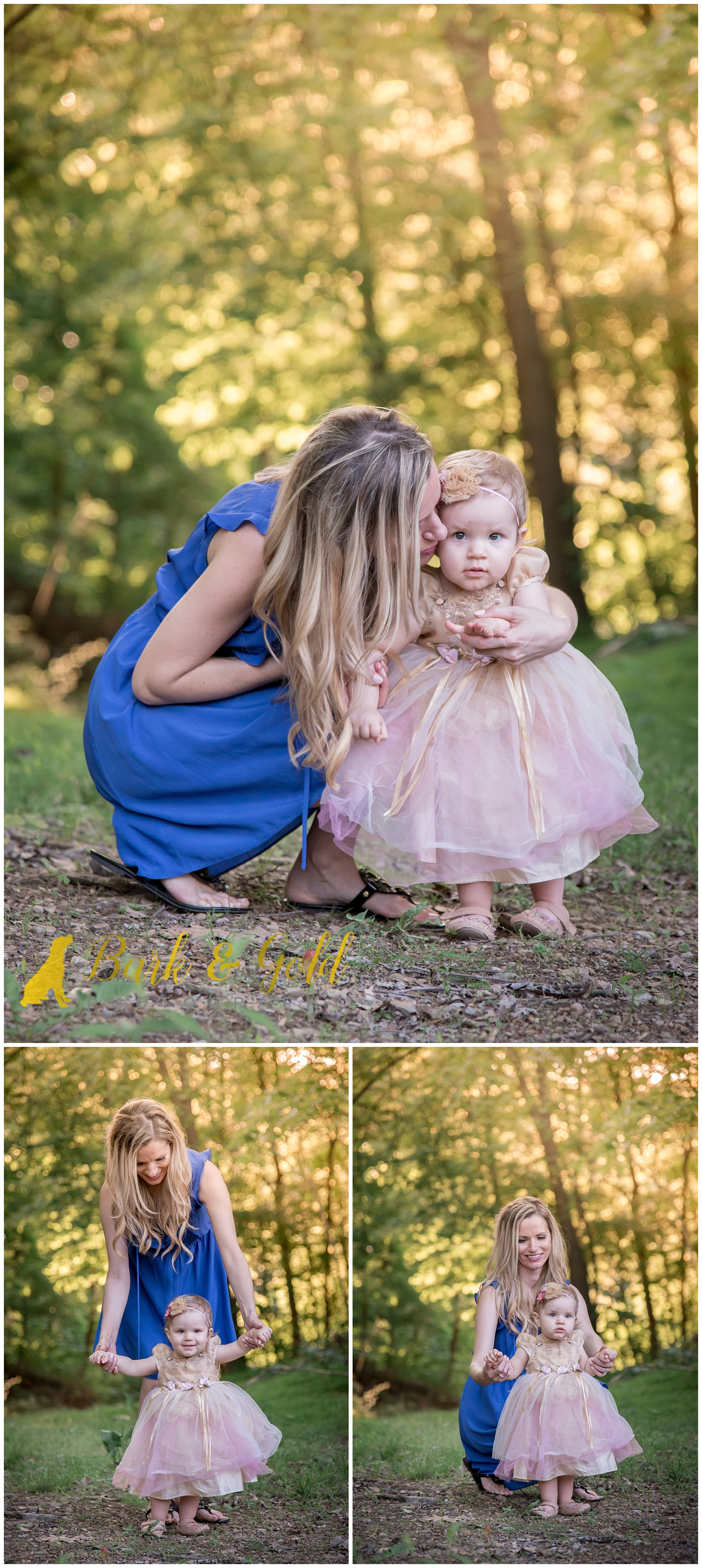 mother helps young daughter walk during family session in Monaca
