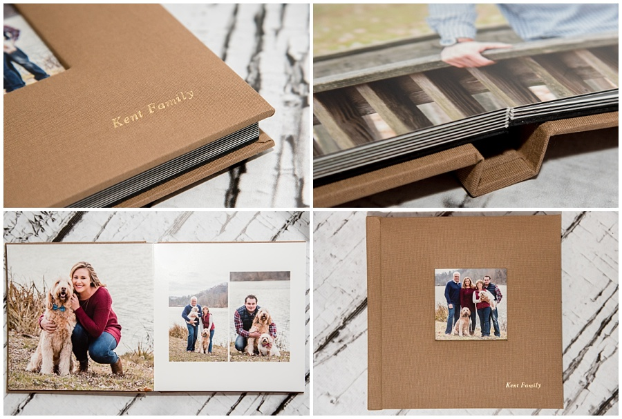 fine art album sample with tan linen cover and family portraits