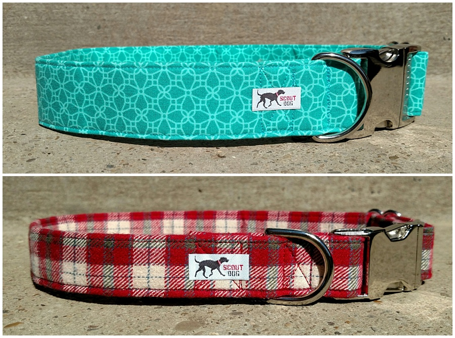 Scout Dog Collars in red and blue custom fabrics