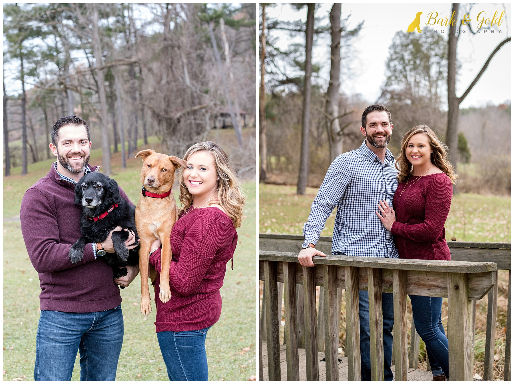 young couple poses with two rescue dogs at North Park in Gibsonia