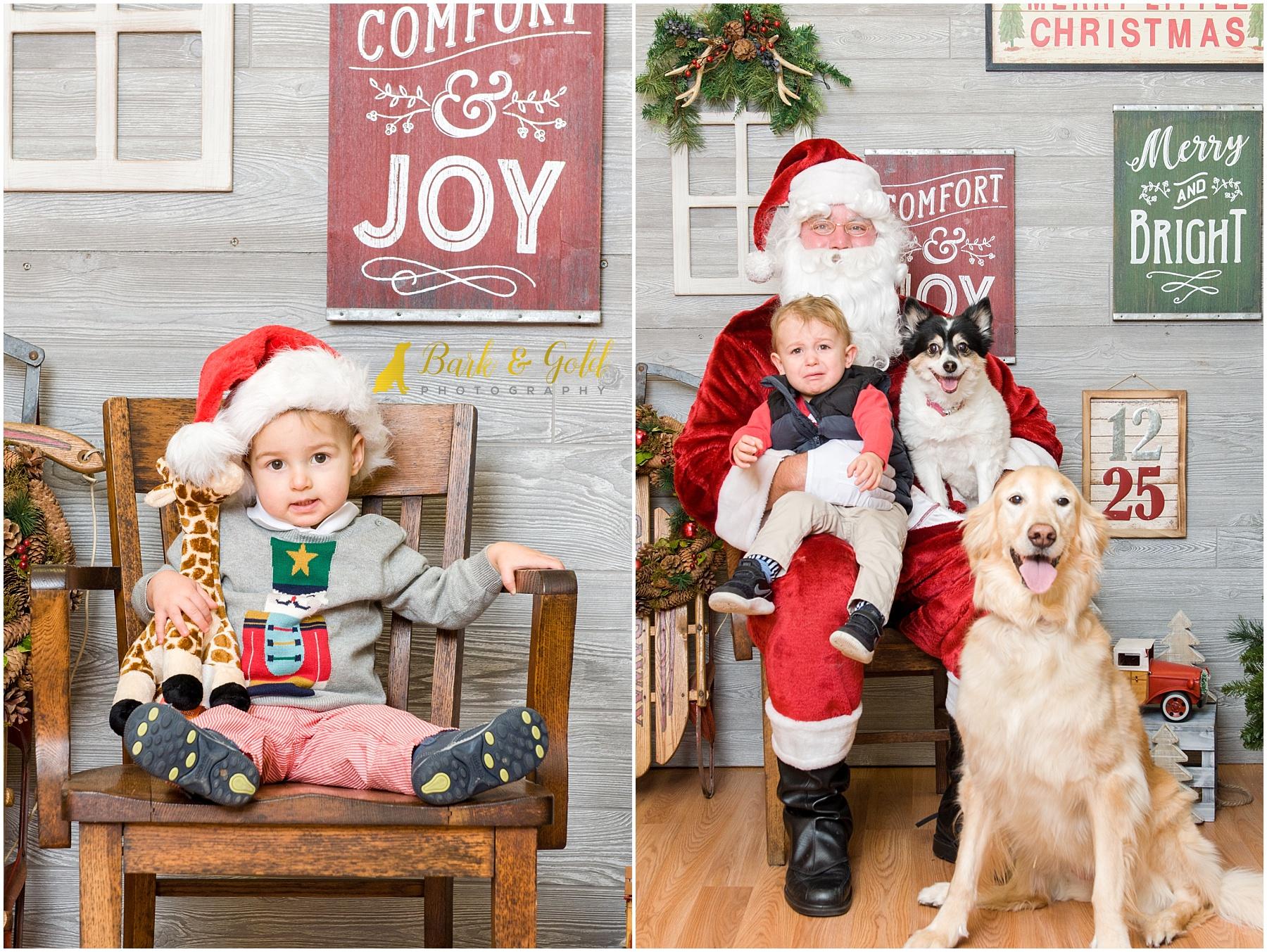 young children posing with Santa during 2017 pet photos with Santa at Petagogy
