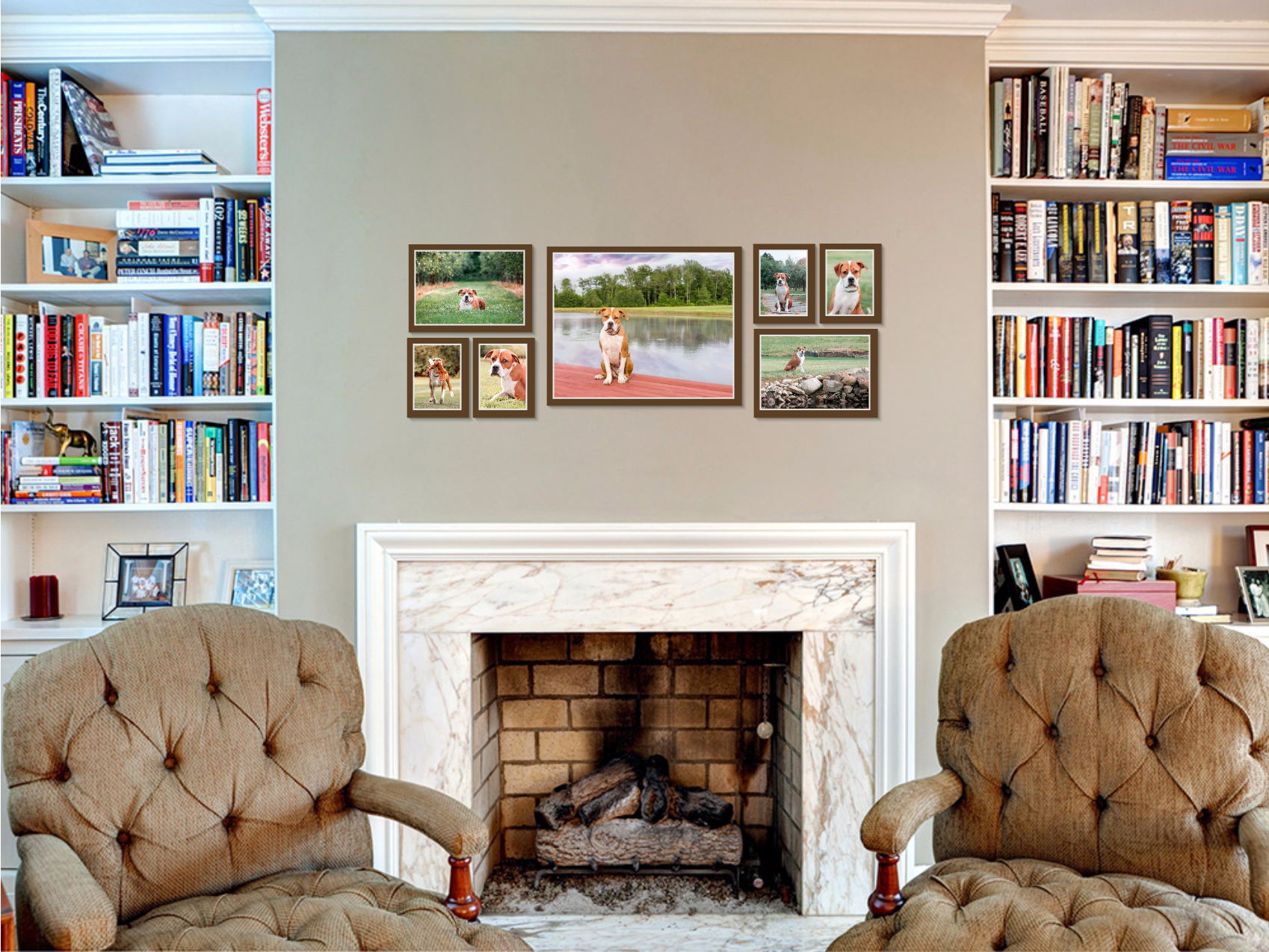 dog photography wall art grouping above fireplace in family room