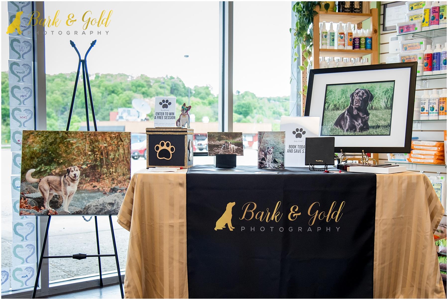 Bark & Gold Photography vendor display at Healthy Pet Day 2018