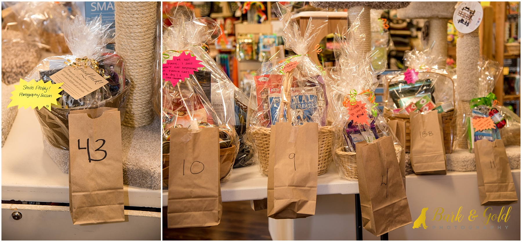 raffle baskets on display during Healthy Pet Day 2018