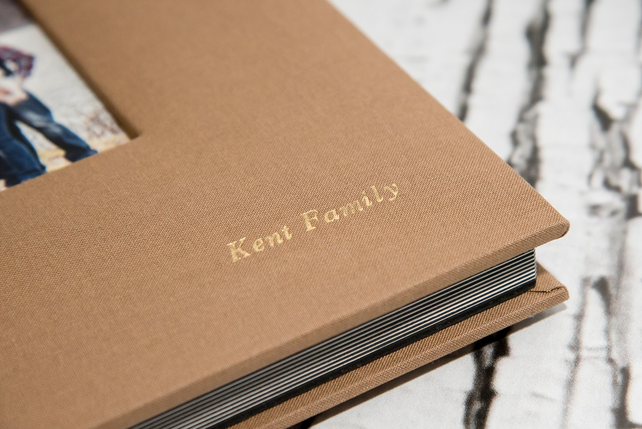 fine art album with tan linen cover