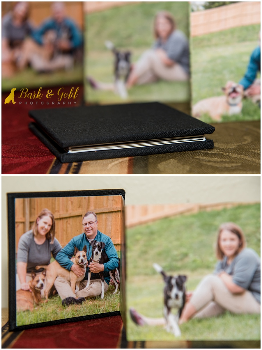 mini accordion albums from backyard pet photography session near Pittsburgh