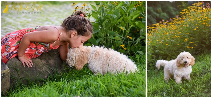little girl kissing a goldendoodle puppy in the garden at Phipps Conservatory in Pittsburgh