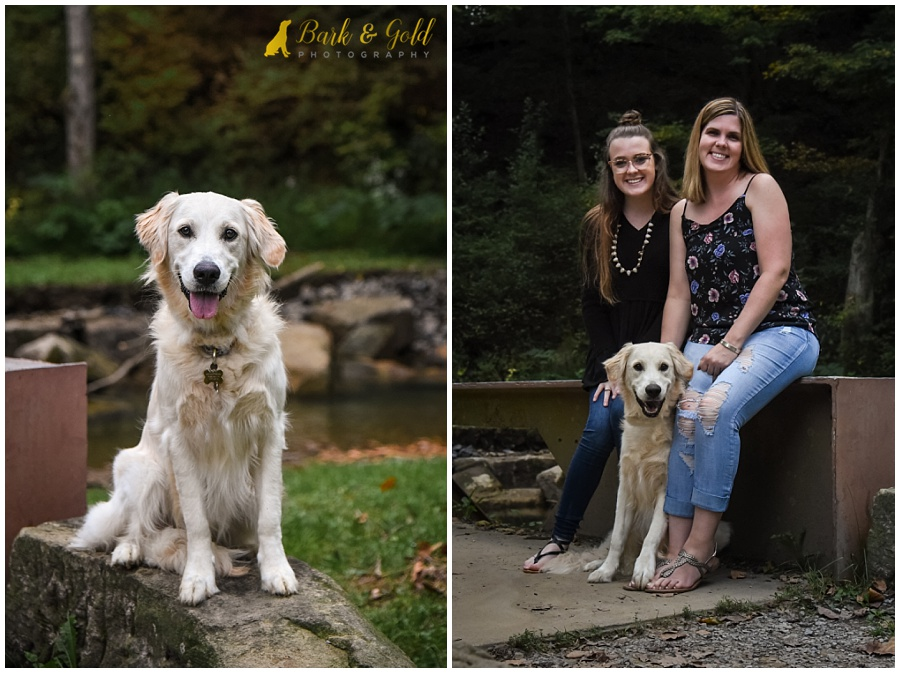 mom and daughter posing with their puppy on a bridge at Brady's Run Park in Beaver County