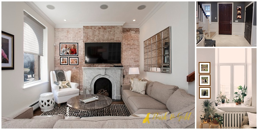 vertical wall art groupings on narrow living room walls