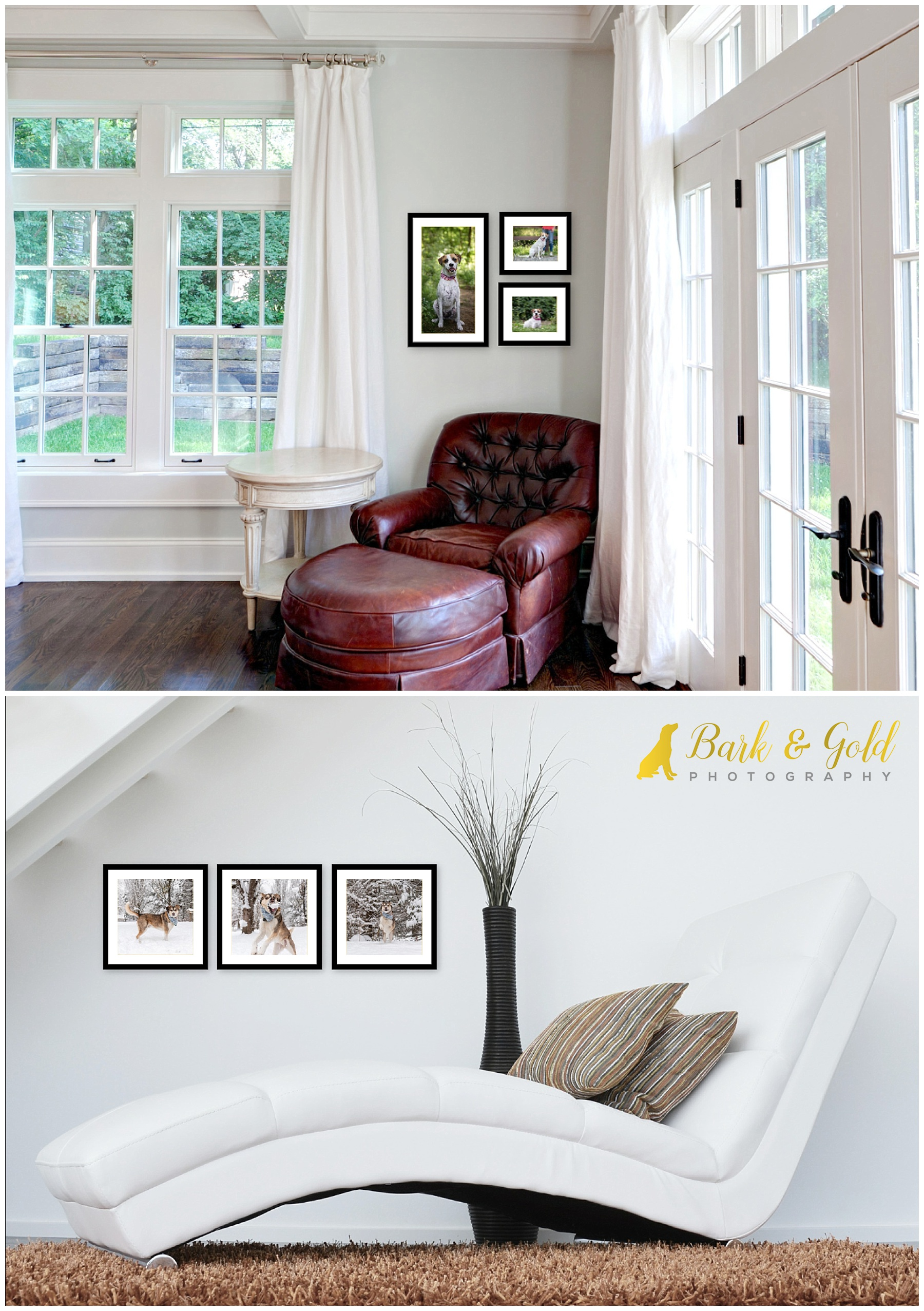 narrow wall spaces with multiple signature wall art pieces