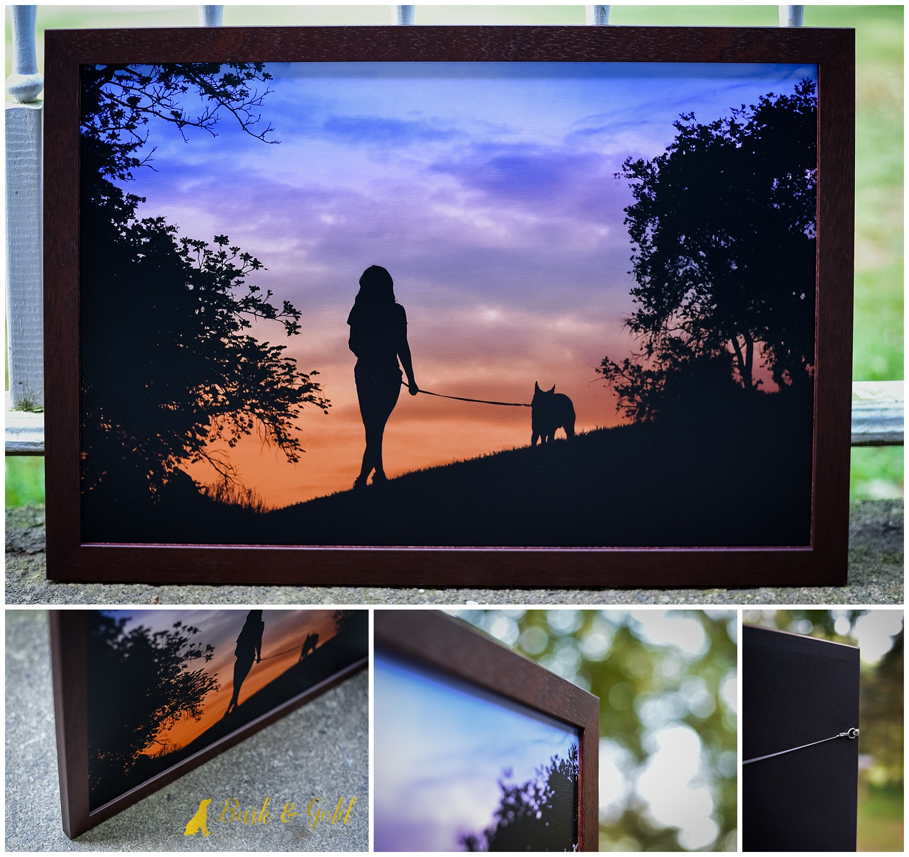 mocha wood framed portrait of woman and dog at sunset