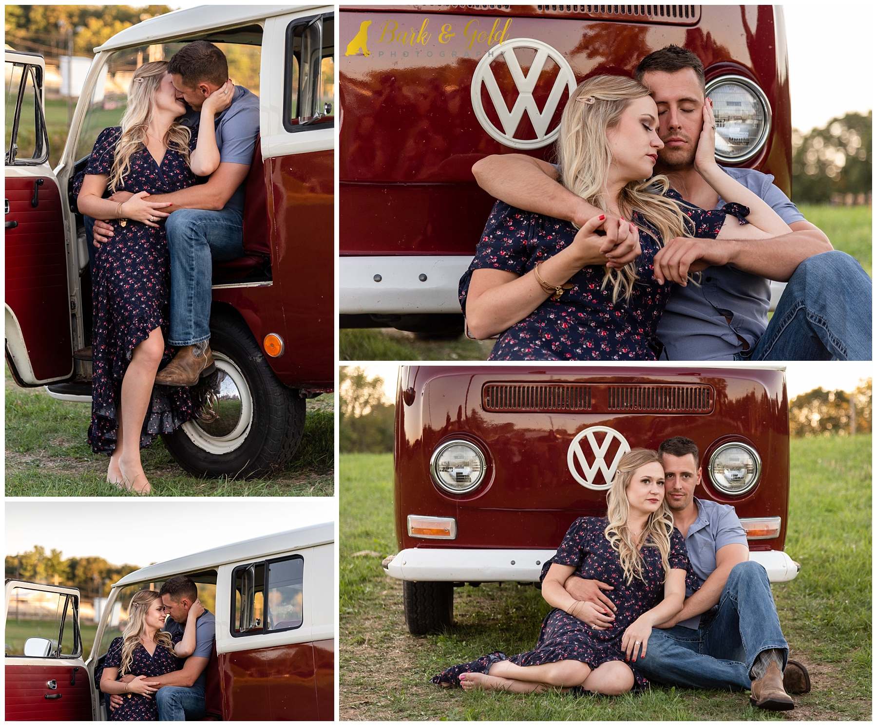 engaged couple and red VW truck at the FA members-only shootout at the Hookstown Fairgrounds