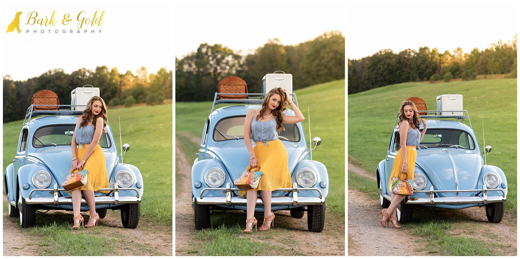 young woman playful posing with blue VW bug at the FA members-only shootout at the Hookstown Fairgrounds