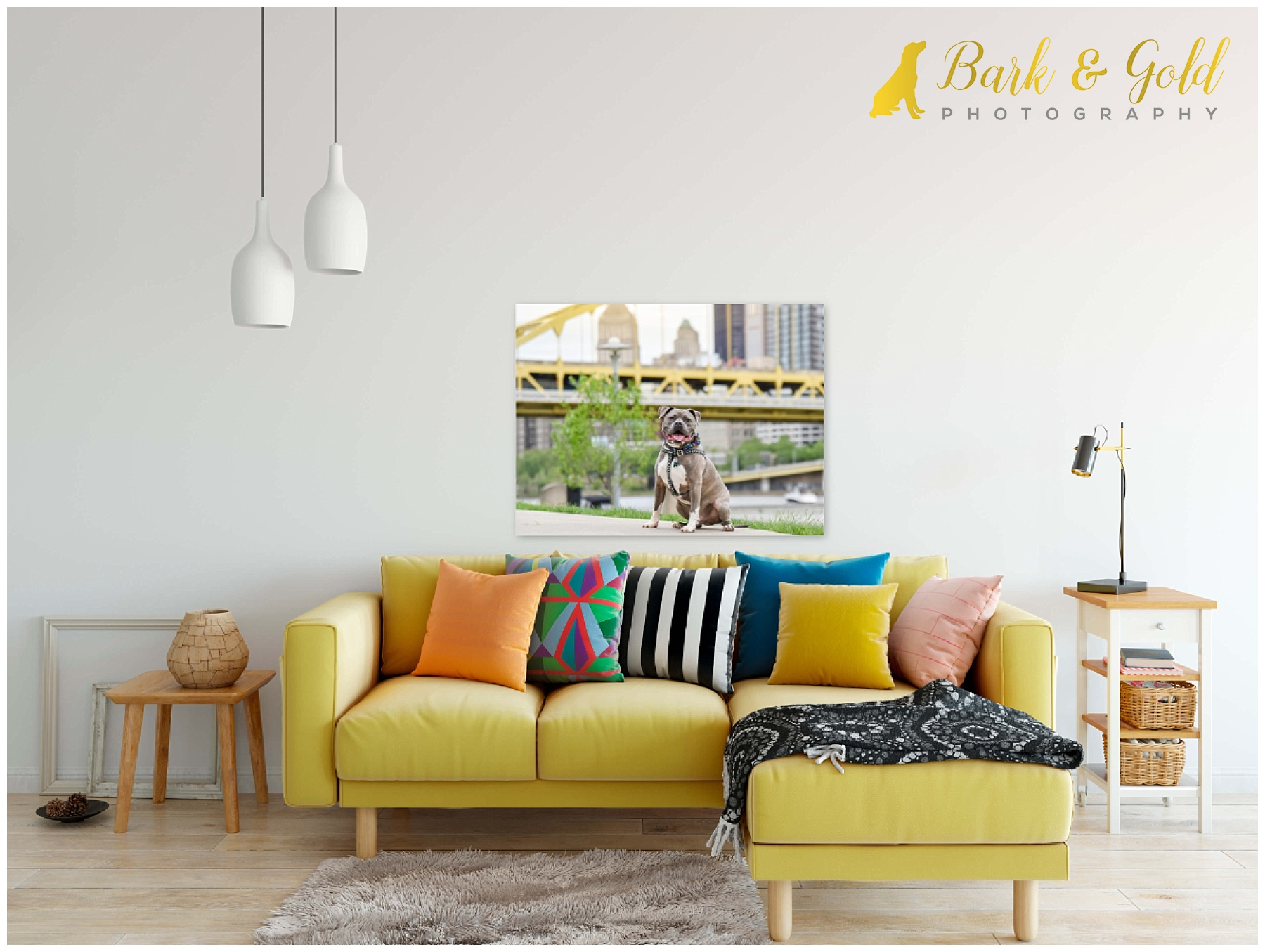 gallery-wrapped canvas of a pit bull above a yellow couch