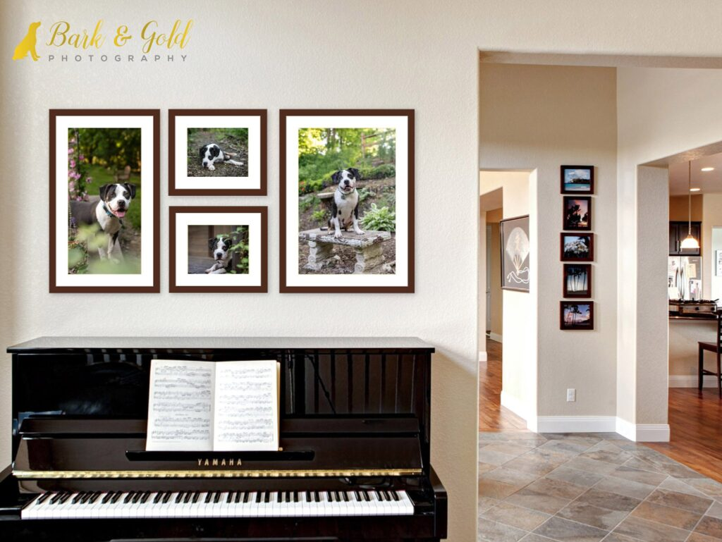 framed print wall art grouping above a piano