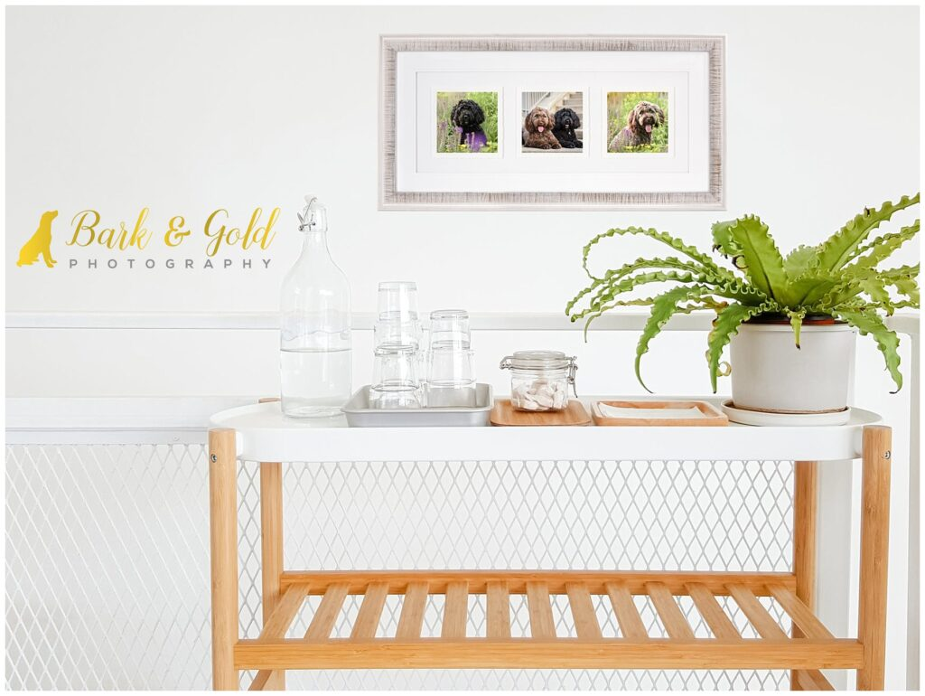 deckled trio in winter white frame above a kitchen cart