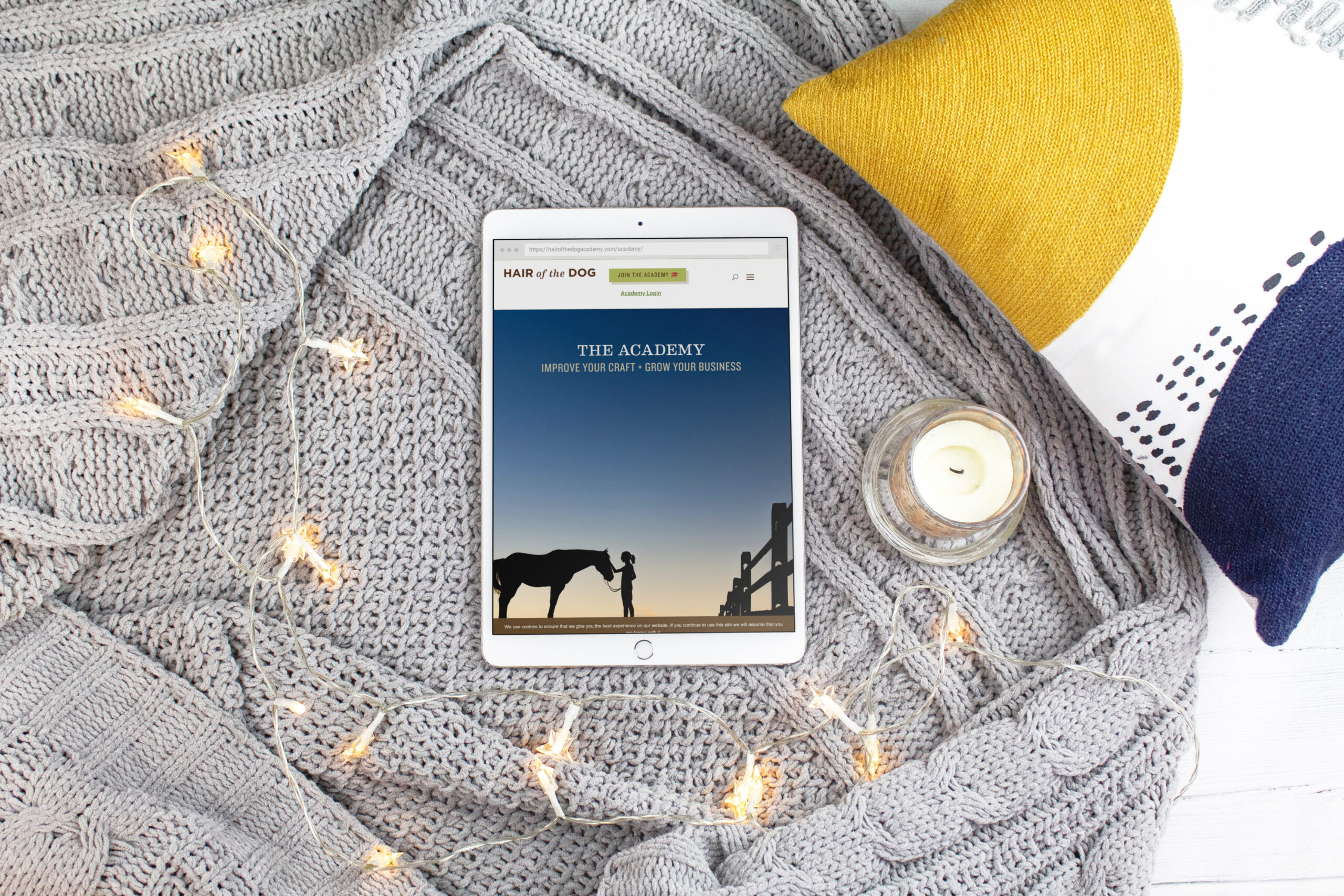 gray blanket with white lights and iPad of HOTD Academy homepage