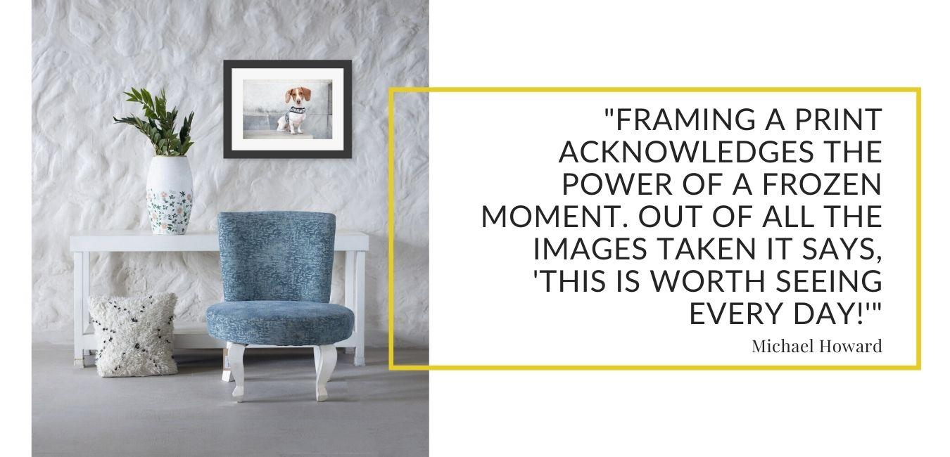 blue chair and framed dachshund art