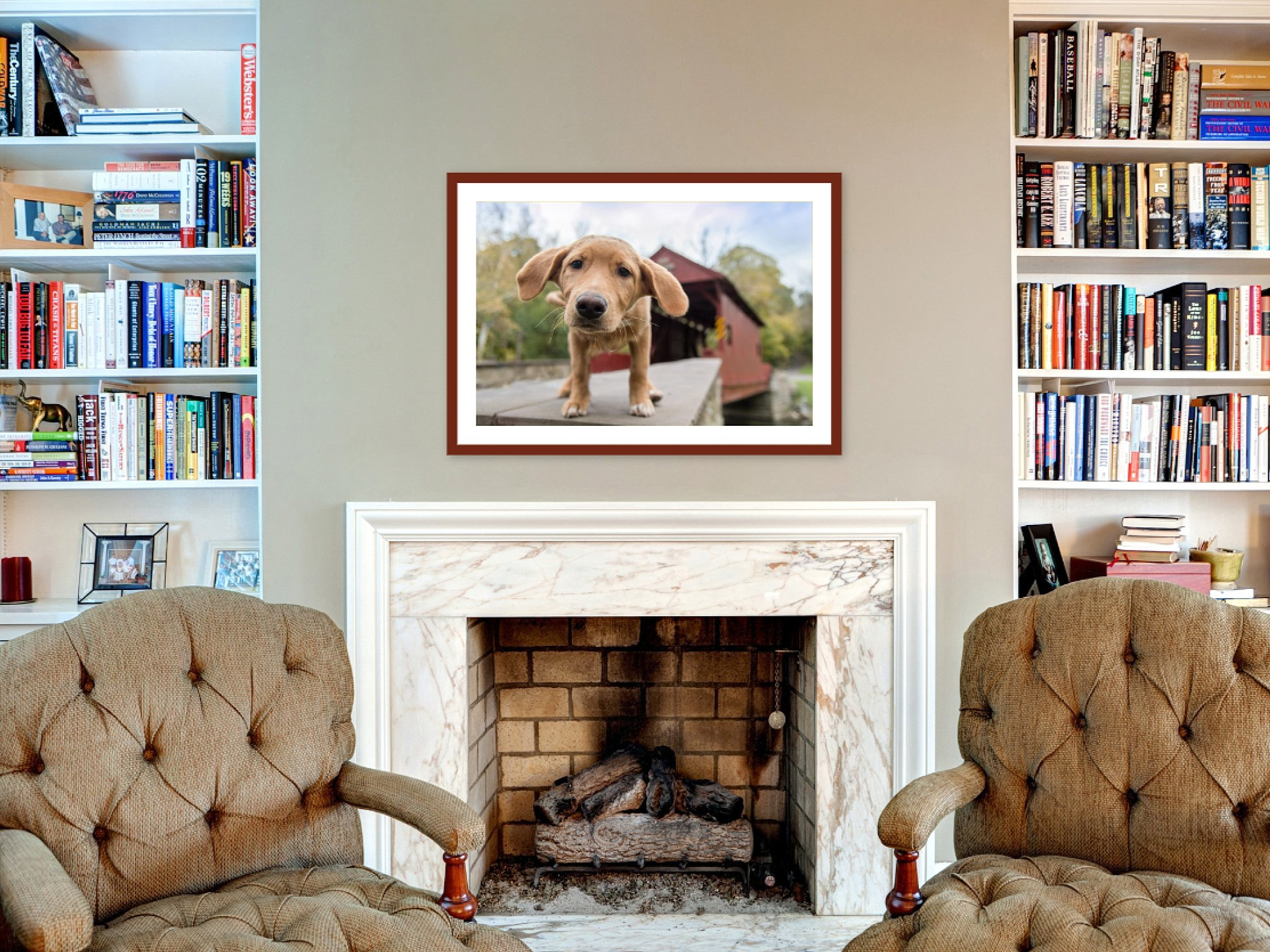 framed puppy portrait above living room fireplace