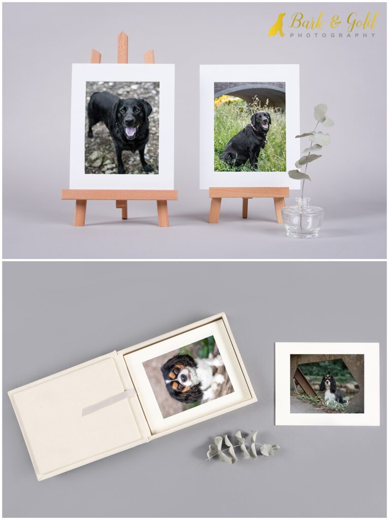 heirloom folio box with small prints on mini easels
