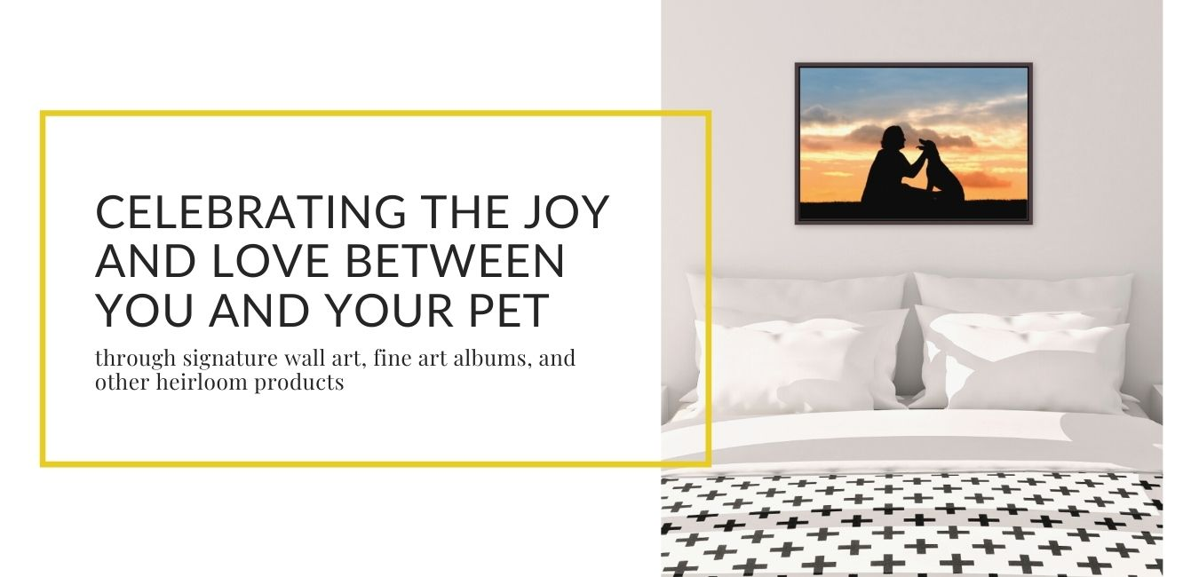 framed canvas above bed with tagline