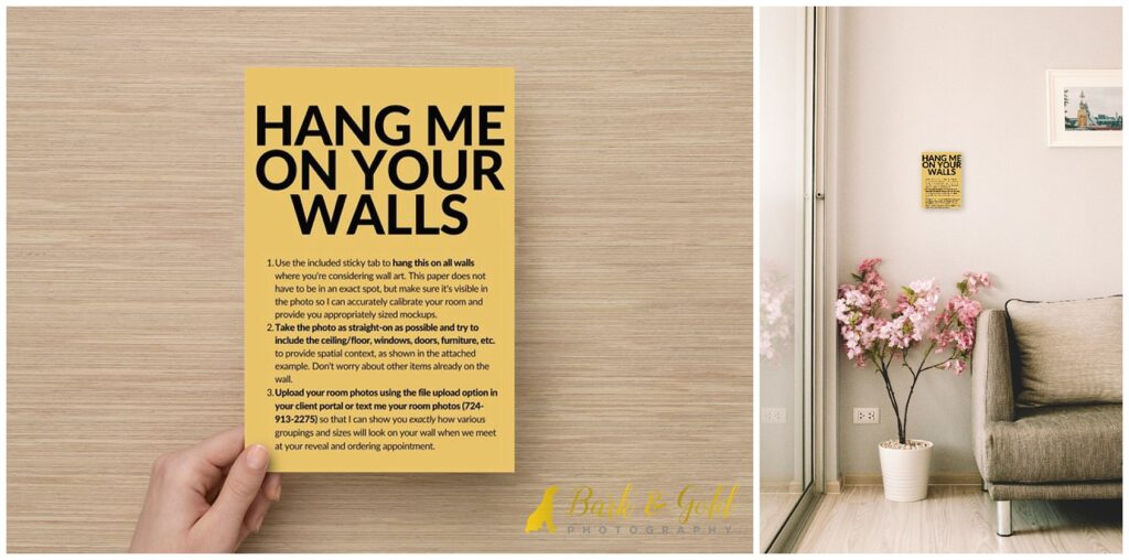 yellow mockup card for calibrating rooms for wall art