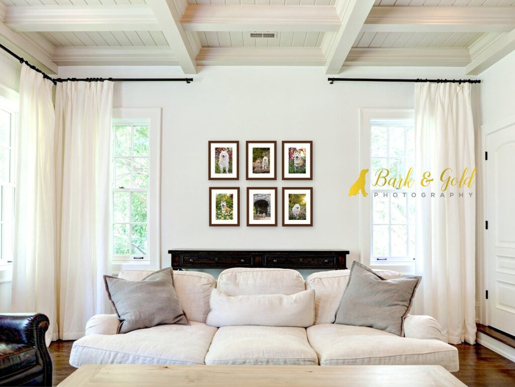 framed small prints displayed as a wall art grouping in a white living room