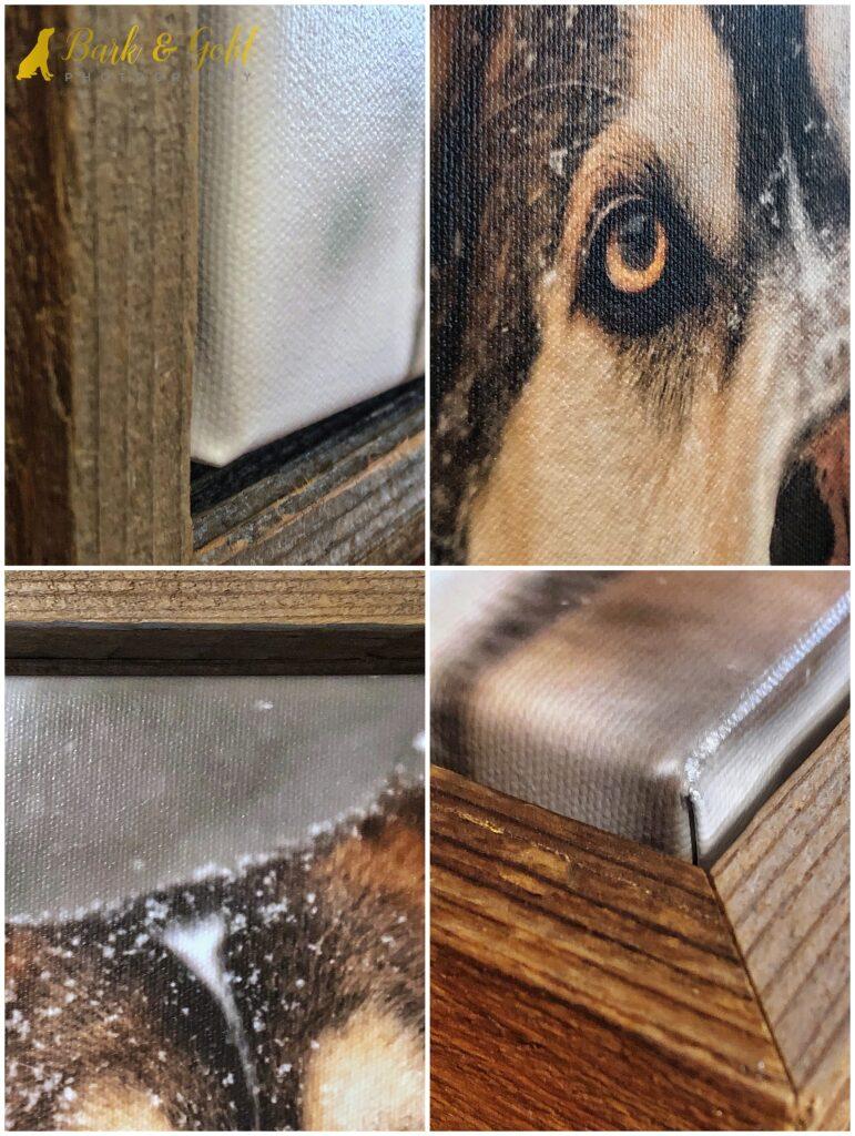details of a barnwood framed canvas