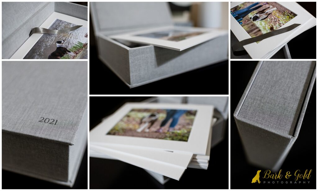 cool gray heirloom folio box with prints rom Bobo's Rainbow Session