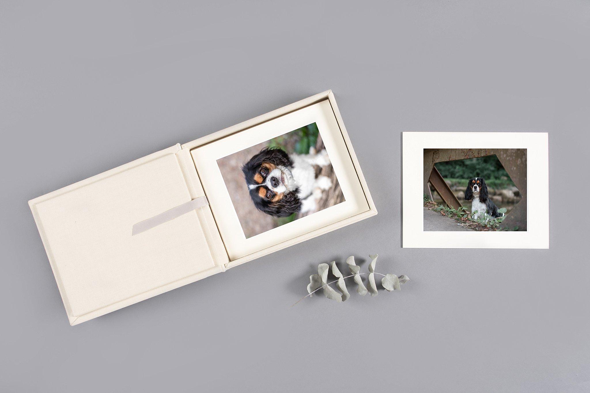 heirloom folio box in an off-white luxury linen